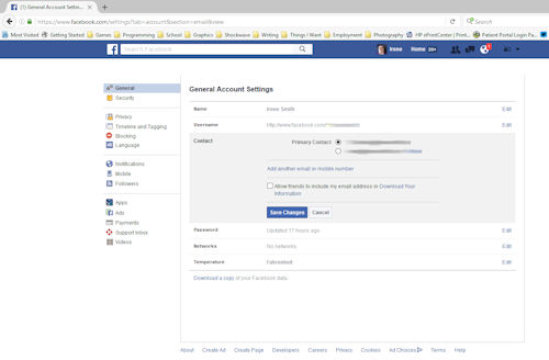 An image of the general settings tab of Facebook showing how to see what email accounts it has associate with it.